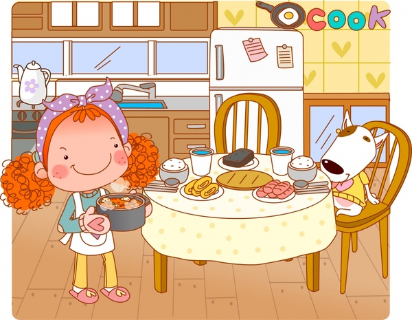 lifestyle painting cooking theme cartoon characters sketch