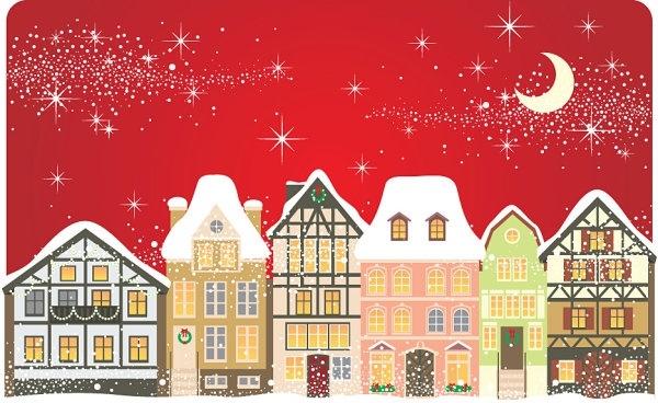 the cartoon christmas house background 01 vector