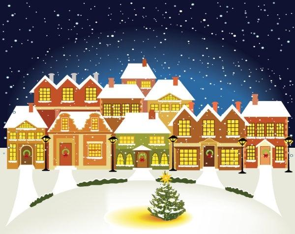 The Cartoon Christmas House Background 03 Vector Free Vector