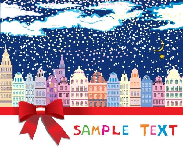 the cartoon christmas house background 05 vector