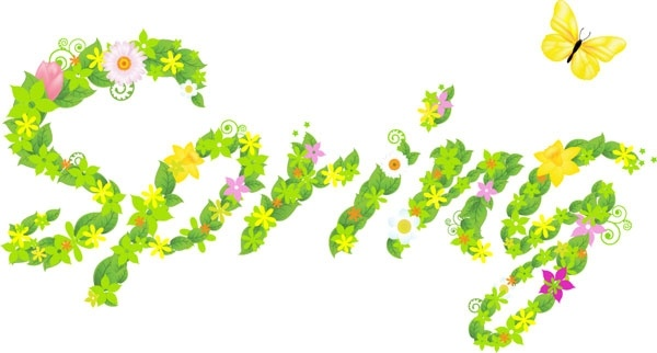 the composition of spring flowers leaves vector