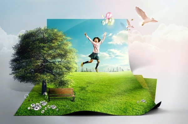 the creative green living picture template design layered 1