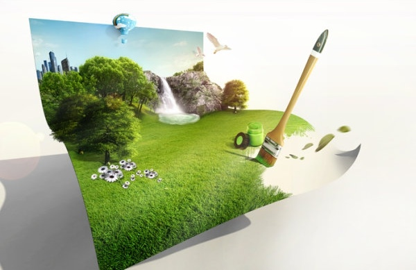 the creative green living picture template design layered 2