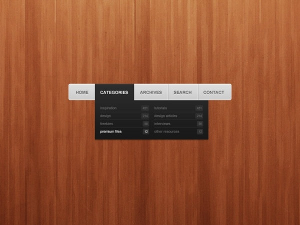 the delicate navigation bar psd layered