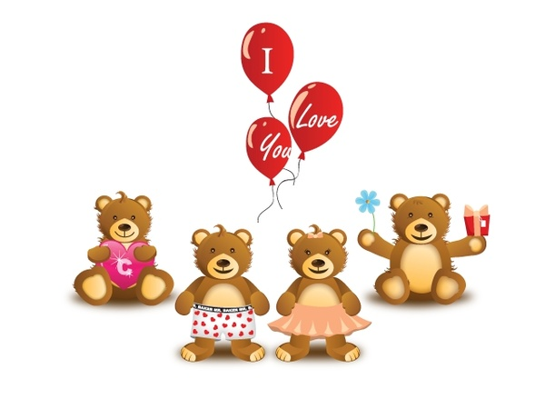 valentines background cute teddy bears and balloon icons