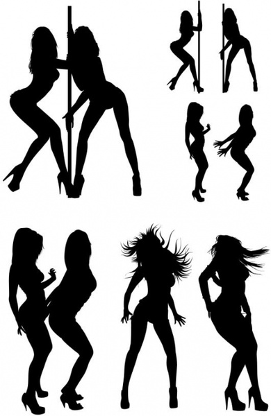 the hot beauties silhouette psd layered