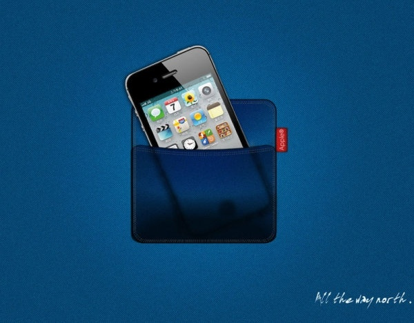 the iphone 4s denim fabric pocket effect psd layered