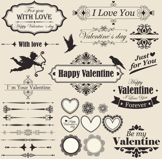 the lace valentine39s day elements vector