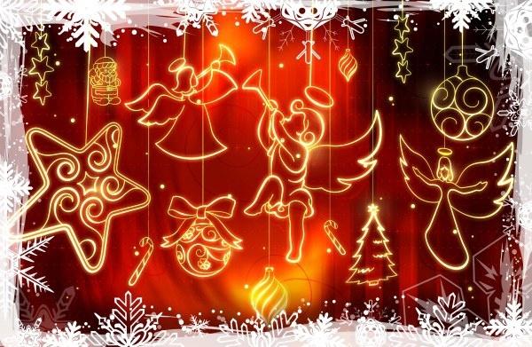 the luminous christmas ornaments psd layered