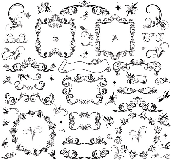 Vector Drawing Lines Html : Floral line art free vector download