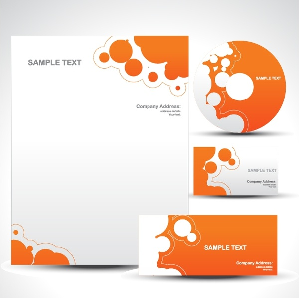 corporate identity sets modern orange white abstract decor