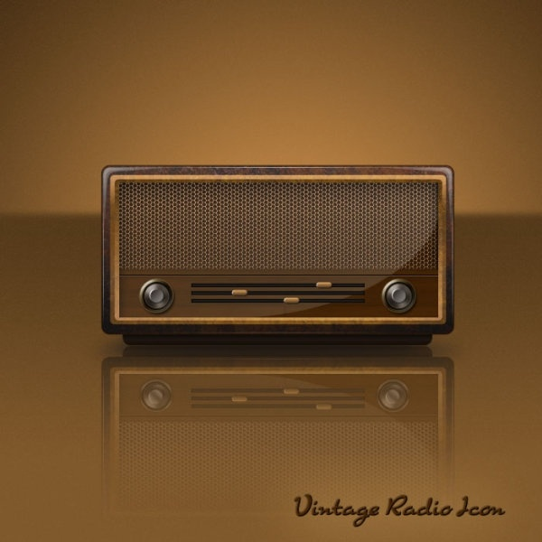 the retro radio psd layered icon