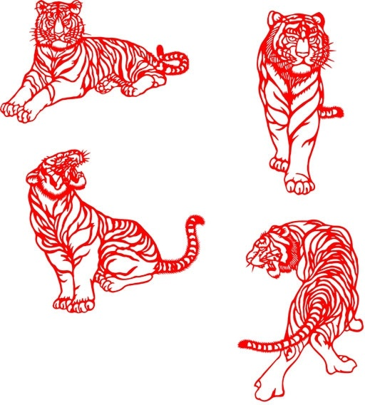 the tiger paper cutting psd