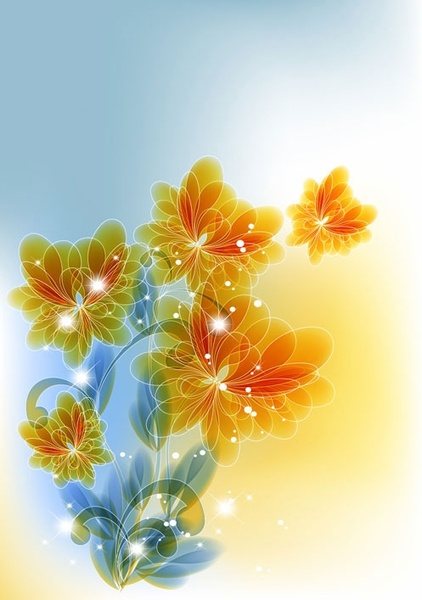 the trend of flowers background 05 vector