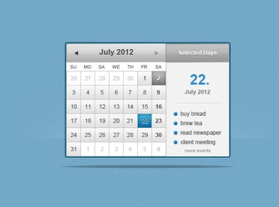 the web calenderpsd layered
