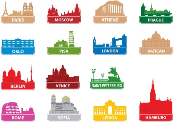 the worldfamous city building silhouette 01 vector