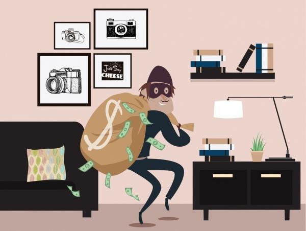 thief drawing man money sack icons cartoon design