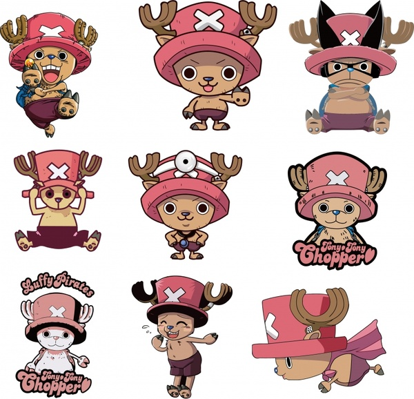 cartoon characters icons collection funny cute kids sketch