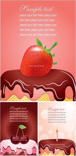 three birthday cards clip art