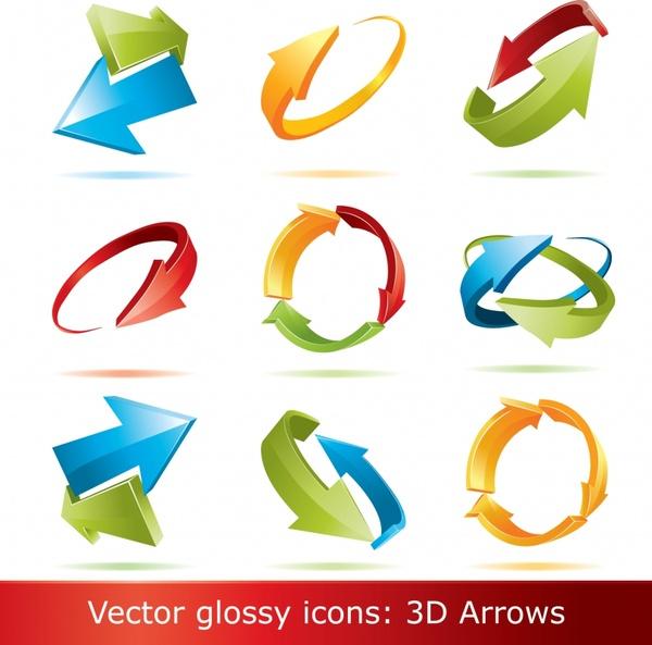 decorative arrow signs templates modern colorful 3d design