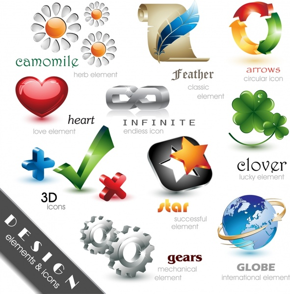 icons templates shiny modern colorful 3d shapes