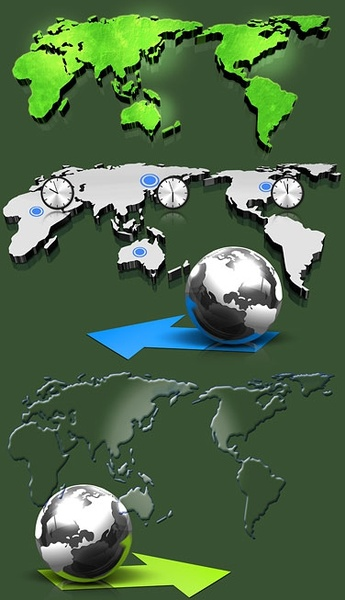 threedimensional map of the world psd layered
