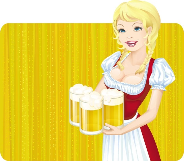 through beer girl 05 vector