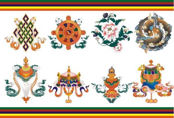 tibetan auspicious eight baby umbrella goldfish aquarius lotus white conch the lucky knot victory buildings kingland
