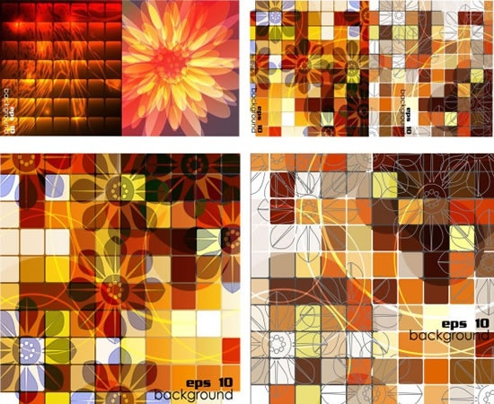 botanical backgrounds flat colorful modern design squares decor