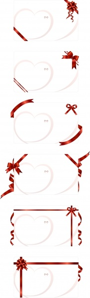 romance card templates modern bright heart ribbon decor