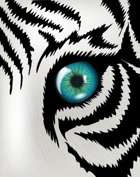 tiger drawing facial closeup black white stripes sketch