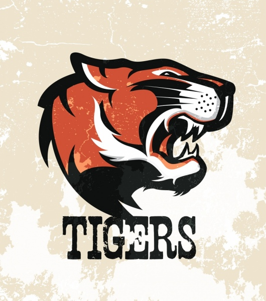 tiger logotype colored retro design