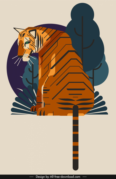 Tiger painting sitting gesture classical colored design Free