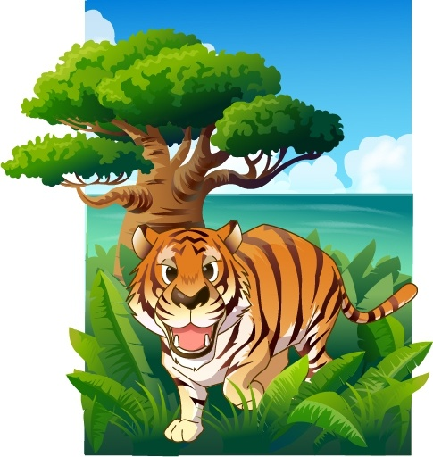 jungle painting tiger trees icons colored cartoon design