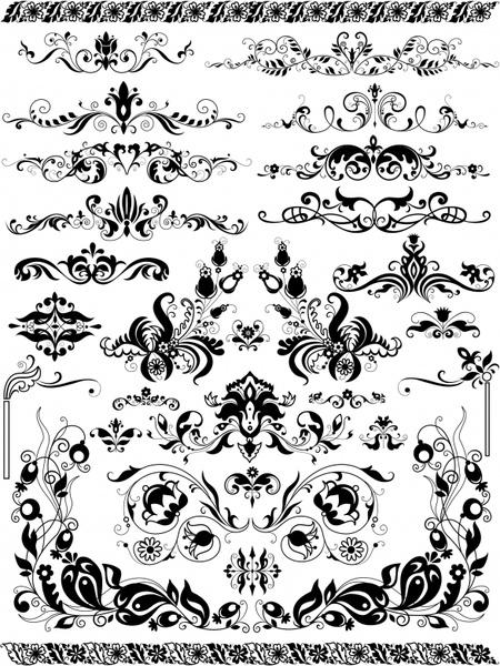 document design elements classical black white symmetric curves