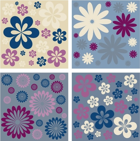 flowers pattern sets colorful classical flat design