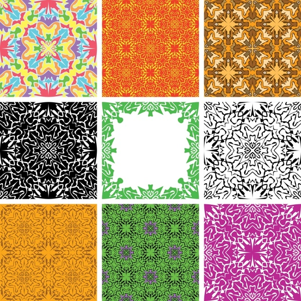 decorative pattern sets colored abstract symmetric design