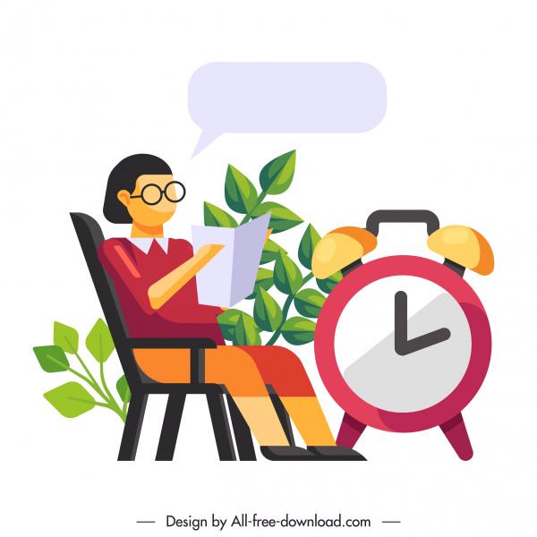 time control conceptual background human clock sketch