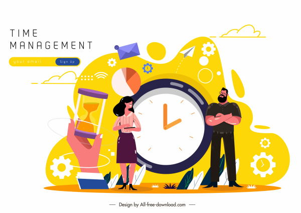 time management banner human clock business elements sketch