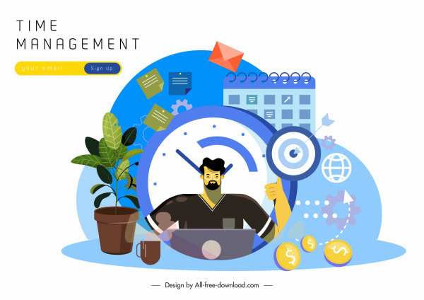 time management banner working man calendar business elements