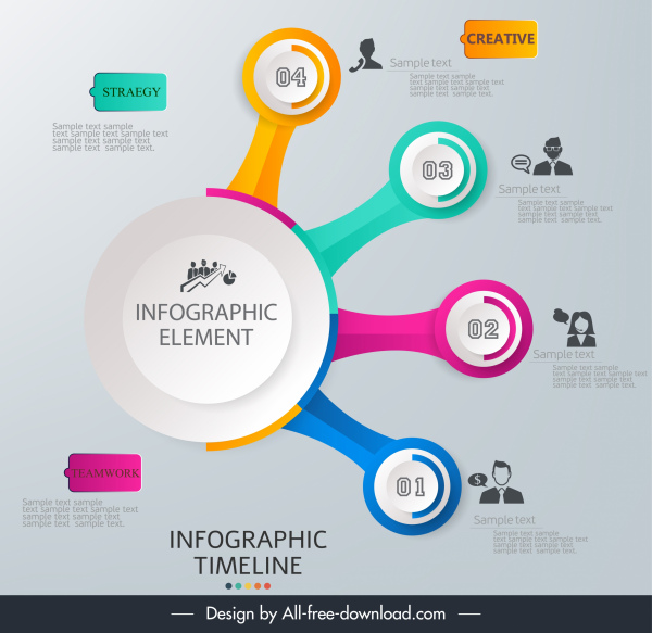 timeline infographic modern circles branches decor