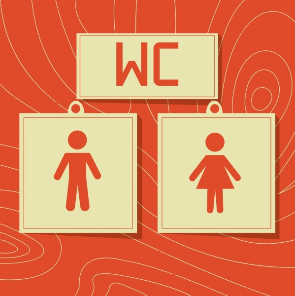 toilet sign template classical flat design
