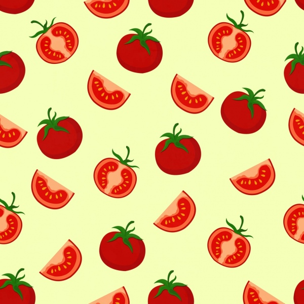 tomato background red slice decoration repeating design