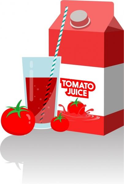 tomato juice advertisement red design box glass decoration