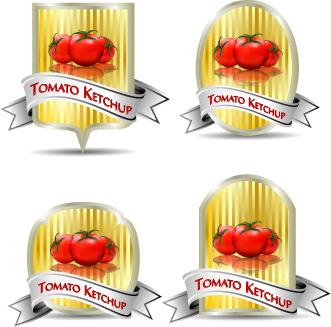 tomato ketchup labels vector