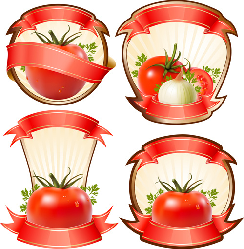 tomato labels with ribbon vector graphics