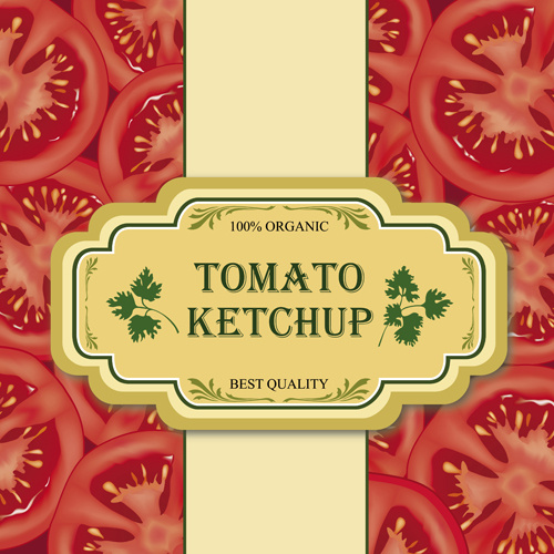 tomato pattern with tomato ketchup labels background