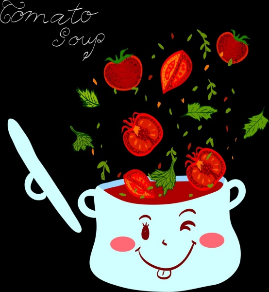 tomato soup advertising stylized pot falling ingredients icons