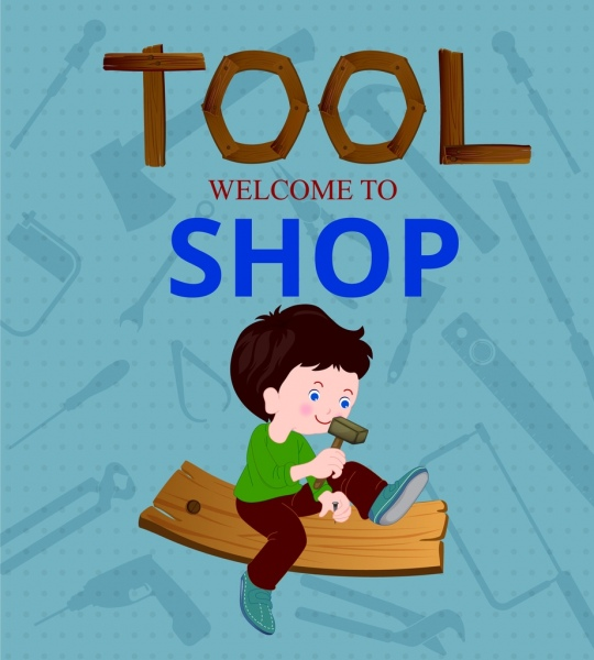 tool shop advertisement kid carpentry accessories icons