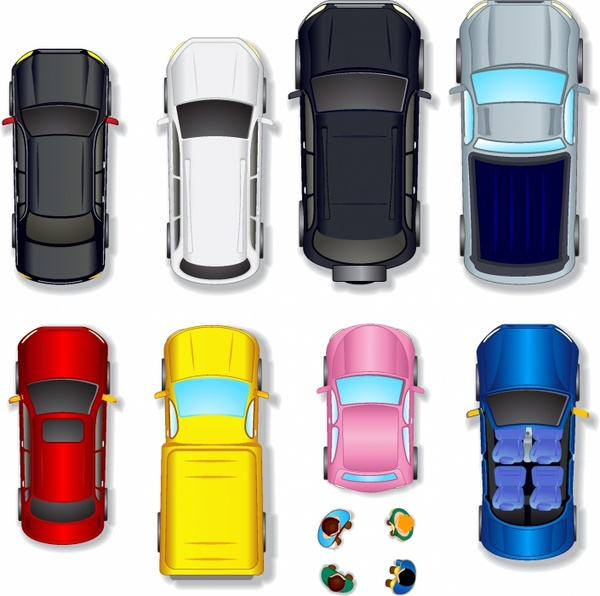 Top View Abstract Cars Free Vector In Adobe Illustrator Ai Ai